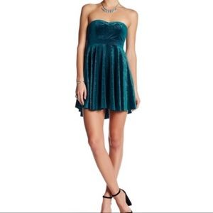 Free People Turquoise Velvet Strapless Mini Dress